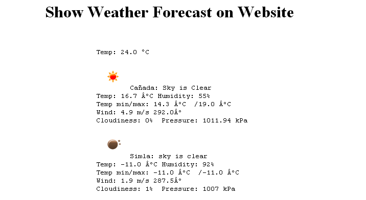 Show Weather Forecast on Website
